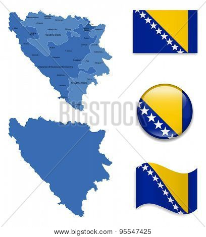 High Detailed Map of Bosnia and Herzegovina With Flag Icons