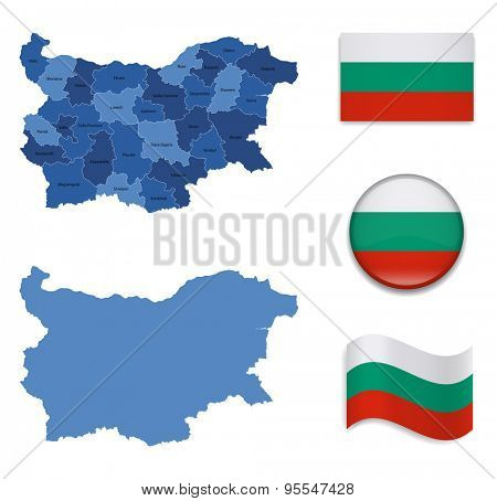 High Detailed Map of Bulgaria With Flag Icons