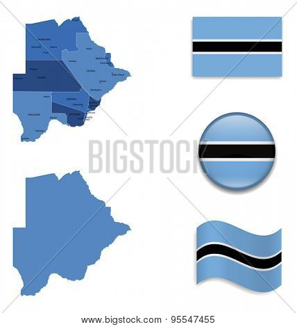 High Detailed Map of Botswana With Flag Icons