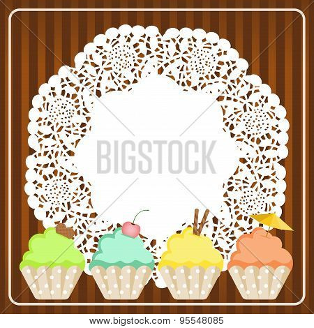Cupcakes on lace paper background