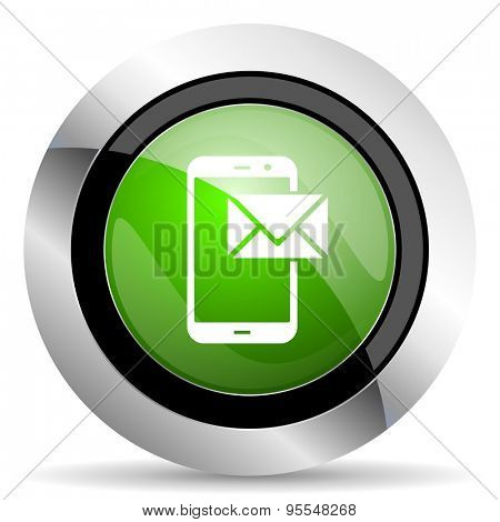 mail icon, green button, post sign