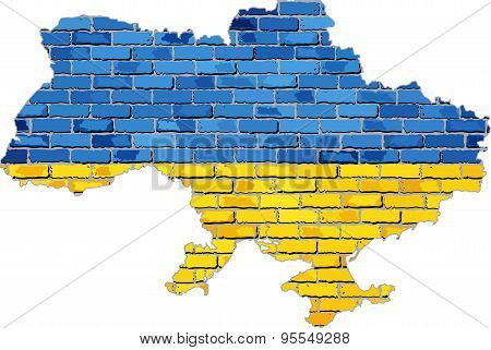 Ukraine Map On A Brick Wall