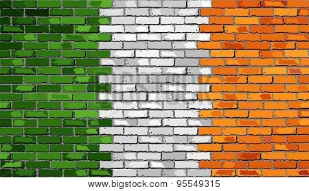 Grunge Flag Of Ireland On A Brick Wall
