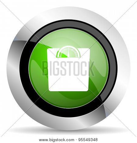 weight icon, green button