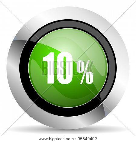 10 percent icon, green button, sale sign