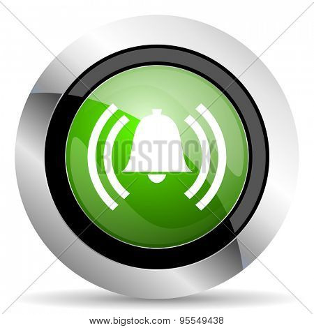 alarm icon, green button, alert sign, bell symbol
