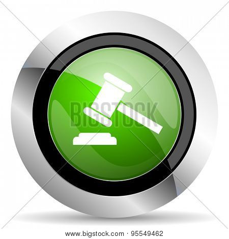 auction icon, green button, court sign, verdict symbol