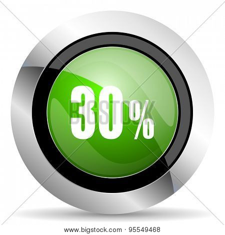 30 percent icon, green button, sale sign