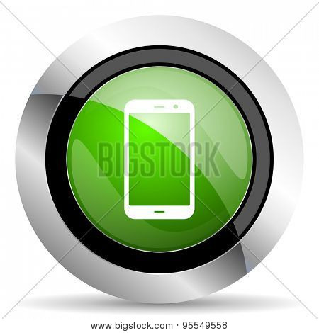 smartphone icon, green button, phone sign