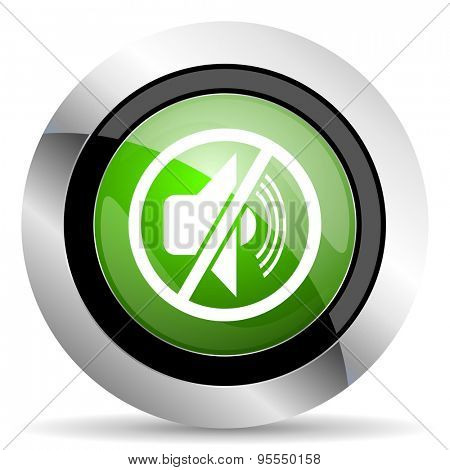 mute icon, green button, silence sign