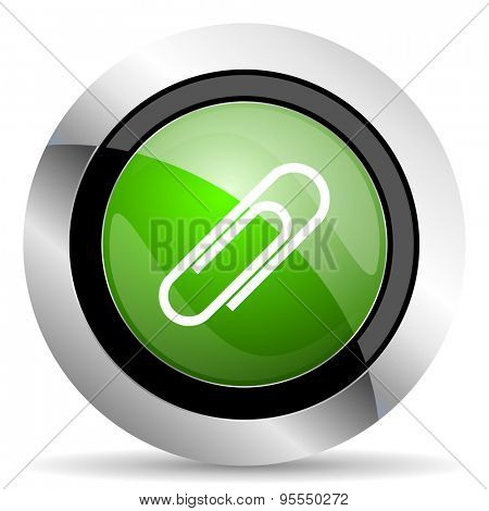 paperclip icon, green button