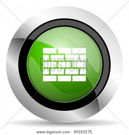 firewall icon, green button, brick wall sign
