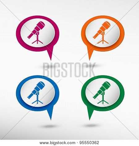 Telescope Astronomy Science Symbol On Colorful Chat Speech Bubbles