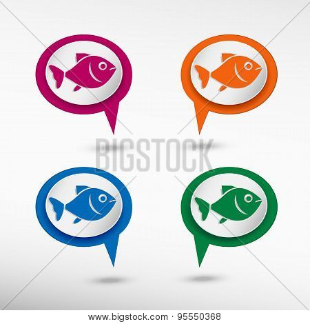 Fish Symbol On Colorful Chat Speech Bubbles