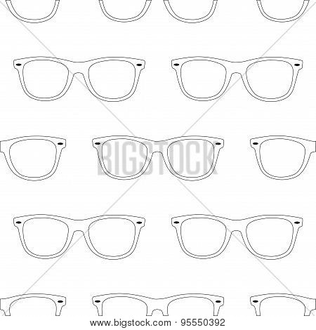 Outline Sunglasses Seamless Pattern On White Background.