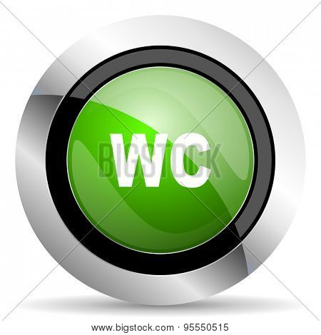 toilet icon, green button, wc sign