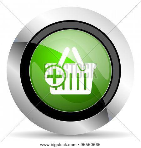 cart icon, green button, shopping cart symbol