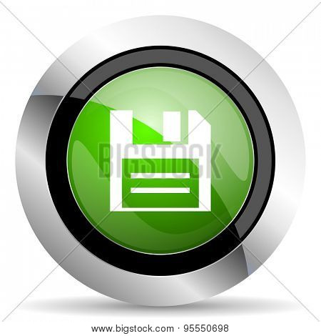 disk icon, green button, data sign