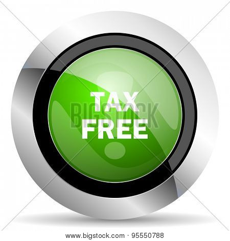 tax free icon, green button