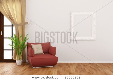 Empty frame hanging on wall in living room next to chair (3D Rendering)