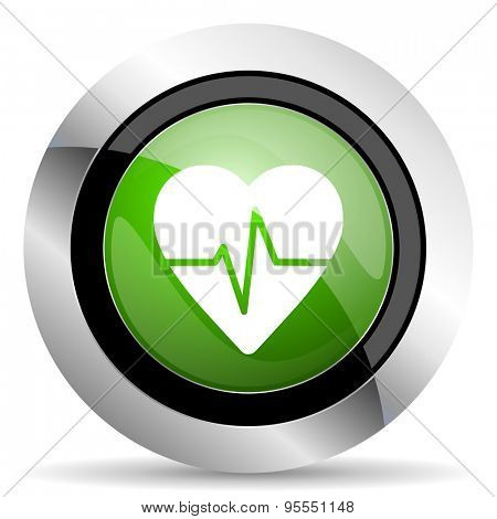 pulse icon, green button, heart rate sign
