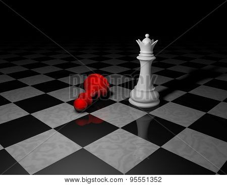 Beautiful Dark Background With Chess Pieces In Shadow