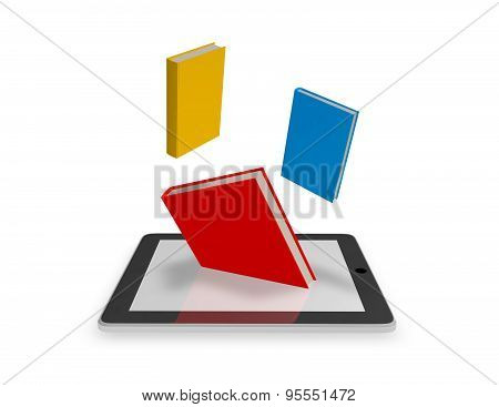 Reading E-books Illustration With Tablet