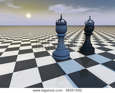 Beautiful Abstract Background With Chess Pieces, Surreal Illustration