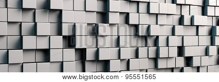 Abstract panorama background with grey metal cubes (3D Rendering)