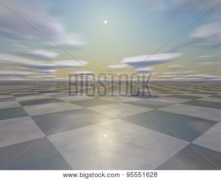 Beautiful Empty Surreal Background With Sky, Sun, Checkerboard