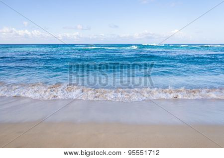 Ocean And Tropical Sandy Beach Background
