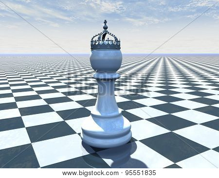 Chess Piece On Beautiful Blue Background With Checkerboard