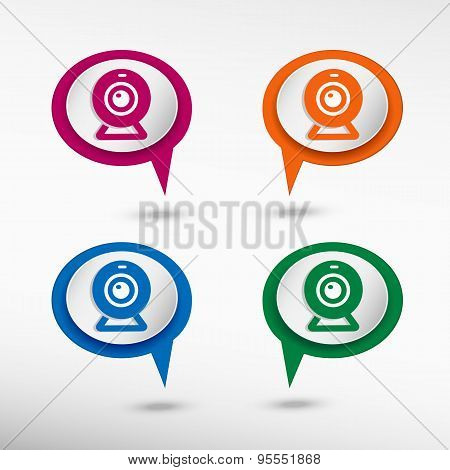 Webcam On Colorful Chat Speech Bubbles. Web Video Chat Symbol.