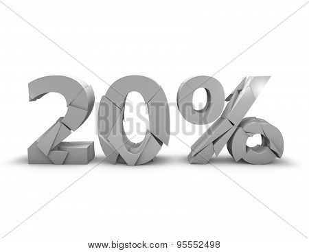 20% 3D Shattered Number, Isolated On White.