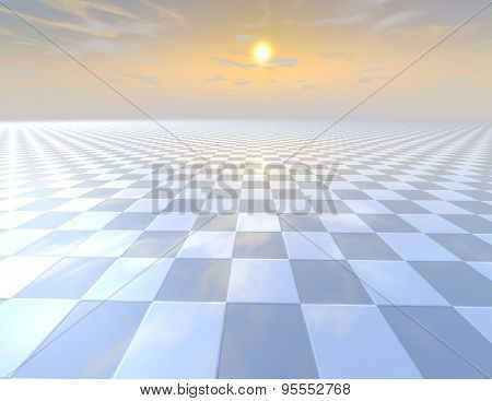 Chessboard Tiled Abstract Background With Horizon And Cloudy Sky.