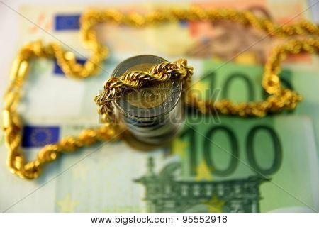 Close up of  Various currency notes and coins from different countries