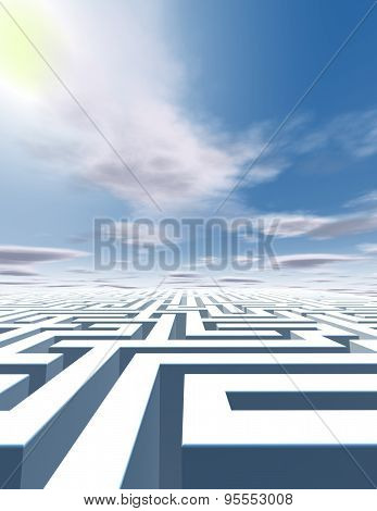 Abstract Surreal Vertical Background With Labyrinth And Blue Sky.
