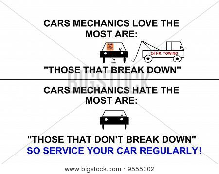 Cars Mechanics Love & Hate Service Sign