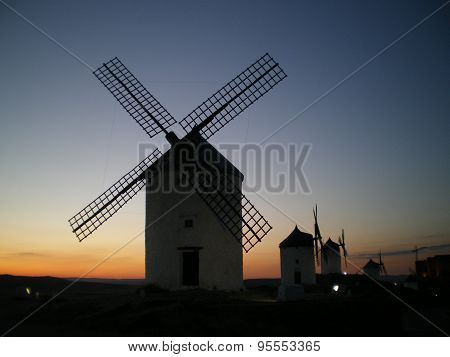 Primitive windmills in La Mancha