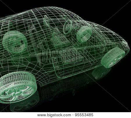 Model car. 3d illustration on black background