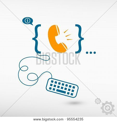 Telephone Receiver And Flat Design Elements.