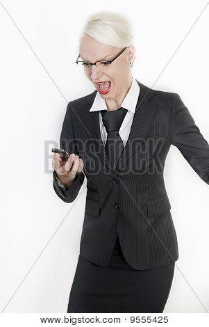 Business Woman With A Phone In Her Hands