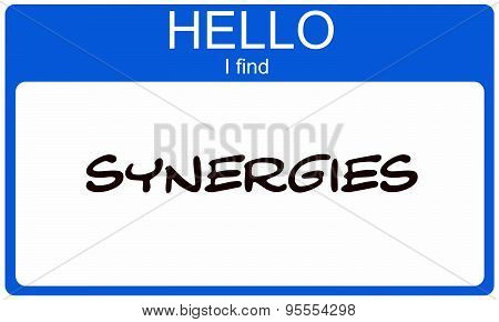 Hello I Find Synergies Blue Name Tag
