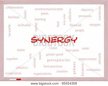 Synergy Word Cloud Concept On A Whiteboard