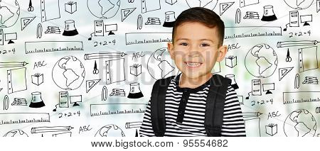 Young boy at school who is smiling