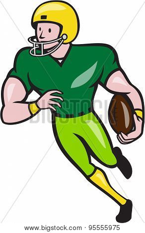 American Football Receiver Running Isolated Cartoon