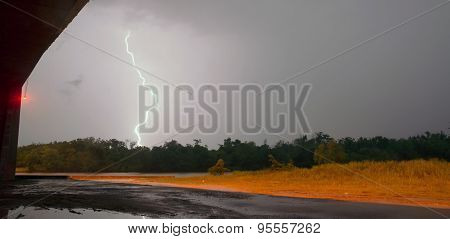 Electrical Storm Thunderstorm Lightning Texas River Highway Overpass