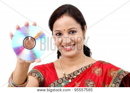 Woman With Compact Disc