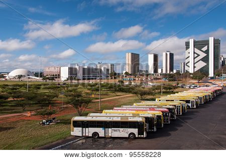 Row of buses in the central bus station of Brasilia