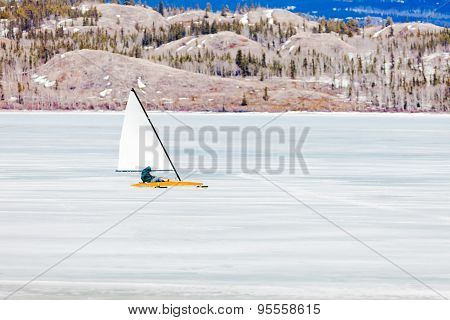 Ice-boat Sailing Frozen Lake Laberge Yukon Canada